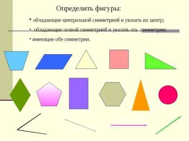 Определить фигуры: обладающие центральной симметрией и указать их центр; обла...