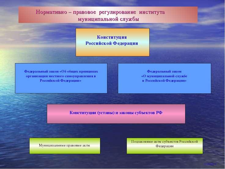 Нормативно – правовое регулирование института муниципальной службы Конституци...