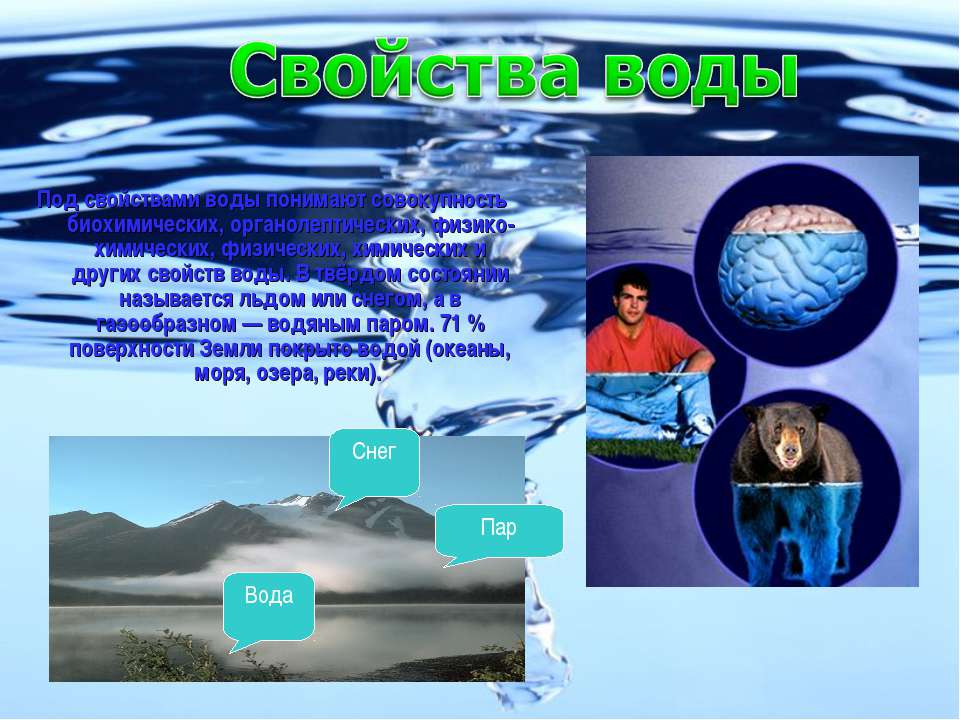 Под свойствами воды понимают совокупность биохимических, органолептических, ф...