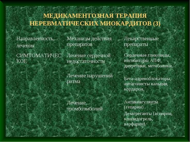 МЕДИКАМЕНТОЗНАЯ ТЕРАПИЯ НЕРЕВМАТИЧЕСКИХ МИОКАРДИТОВ (3)