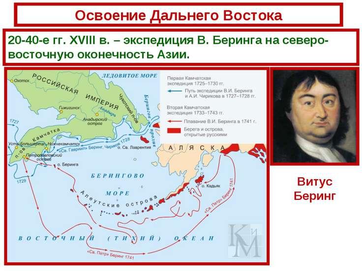 Освоение Дальнего Востока 20-40-е гг. XVIII в. – экспедиция В. Беринга на сев...