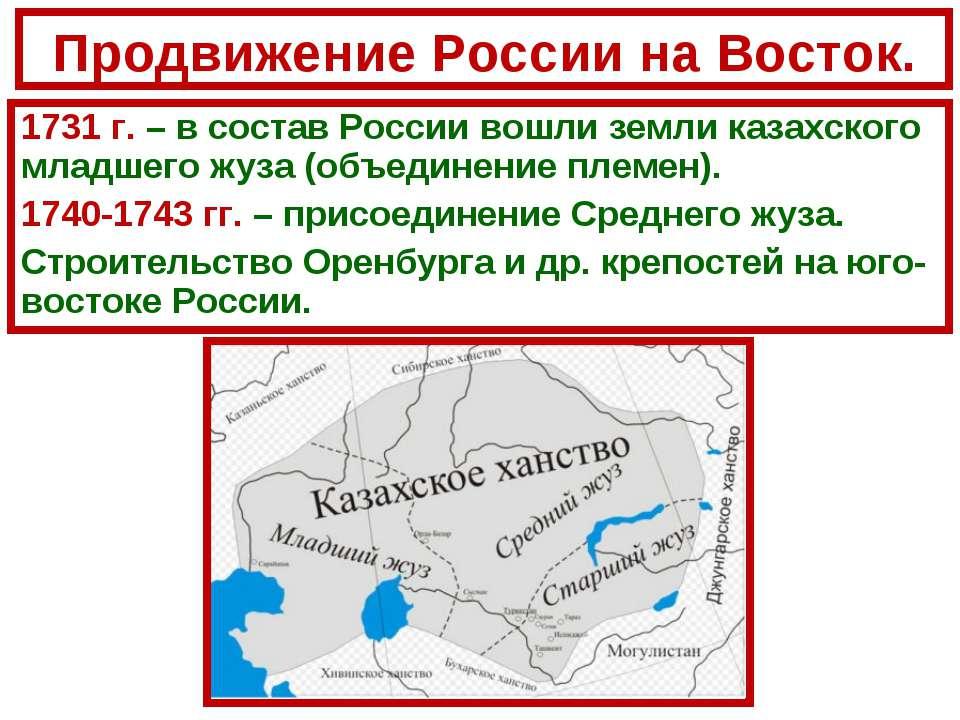 Продвижение России на Восток. 1731 г. – в состав России вошли земли казахског...