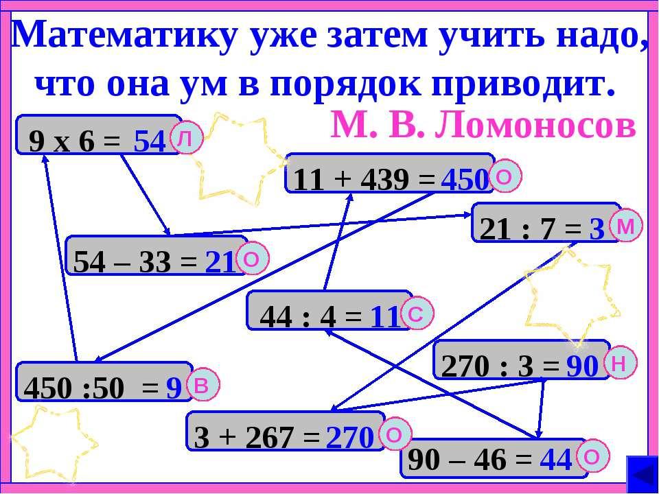 Математику уже затем учить надо, что она ум в порядок приводит. 450 :50 = 54 ...