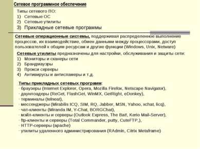 Сетевое программное обеспечение Типы сетевого ПО: Сетевые ОС Сетевые утилиты ...