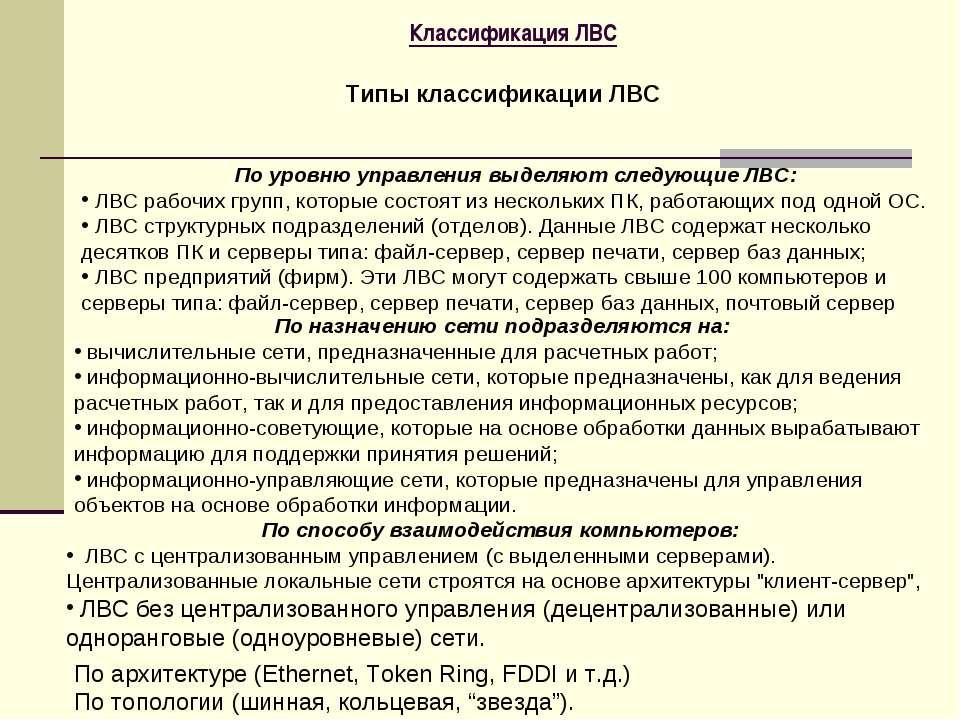 Классификация ЛВС Типы классификации ЛВС По уровню управления выделяют следую...