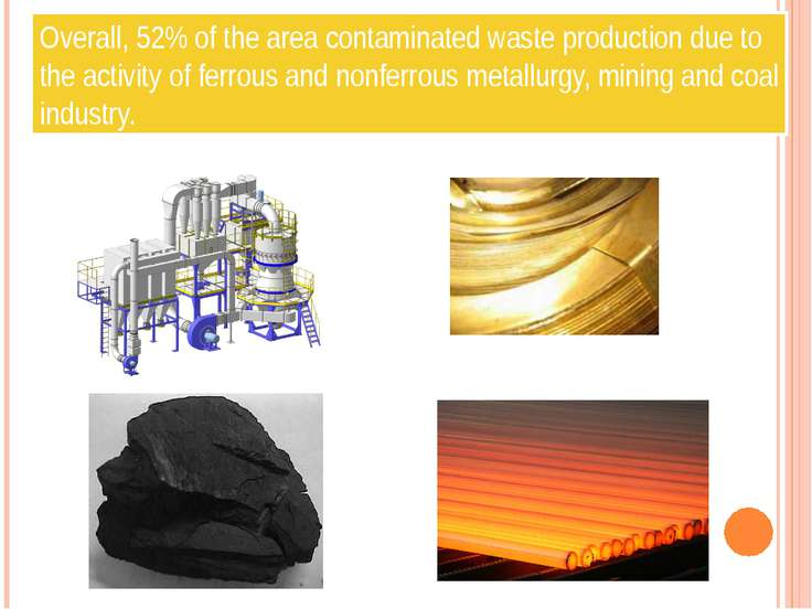 Overall, 52% of the area contaminated waste production due to the activity of...