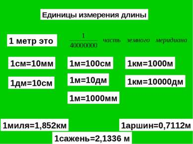 Единицы измерения длины 1 метр это 1м=100см 1см=10мм 1км=1000м 1дм=10см 1м=10...