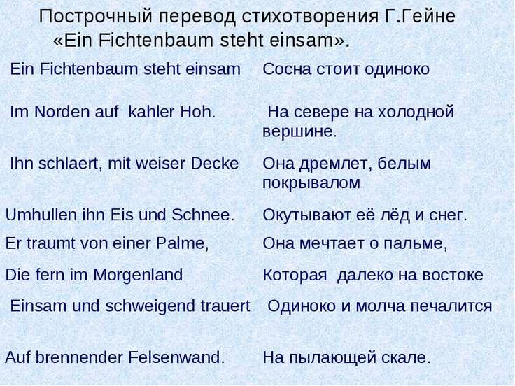 Построчный перевод стихотворения Г.Гейне «Ein Fichtenbaum steht einsam». Ein ...