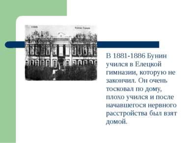В 1881-1886 Бунин учился в Елецкой гимназии, которую не закончил. Он очень то...