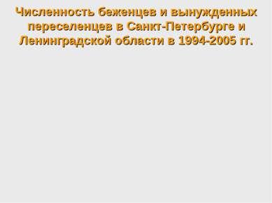 Численность беженцев и вынужденных переселенцев в Санкт-Петербурге и Ленингра...