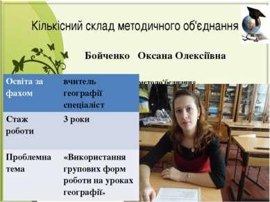 Бойченко Оксана Олексіївна Секретар методо'бєднання Кількісний склад методичн...