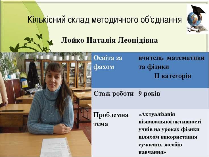 Лойко Наталія Леонідівна Кількісний склад методичного об'єднання Освіта за фа...