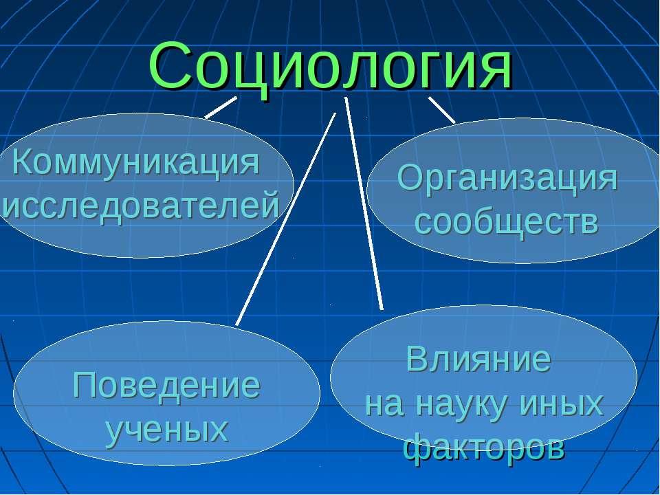 Социология Коммуникация исследователей Организация сообществ Поведение ученых...