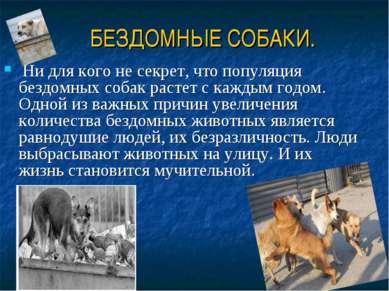 БЕЗДОМНЫЕ СОБАКИ. Ни для кого не секрет, что популяция бездомных собак растет...