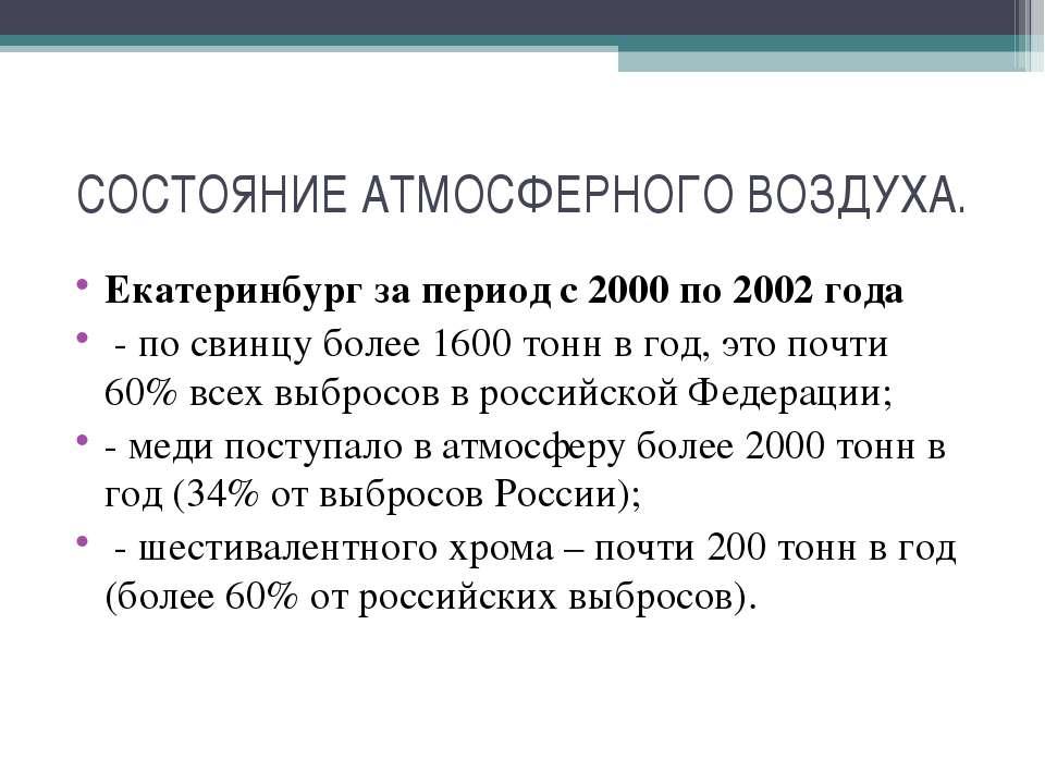 СОСТОЯНИЕ АТМОСФЕРНОГО ВОЗДУХА. Екатеринбург за период с 2000 по 2002 года - ...