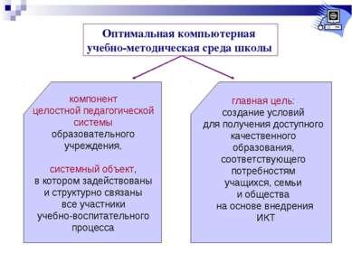 Оптимальная компьютерная учебно-методическая среда школы компонент целостной ...