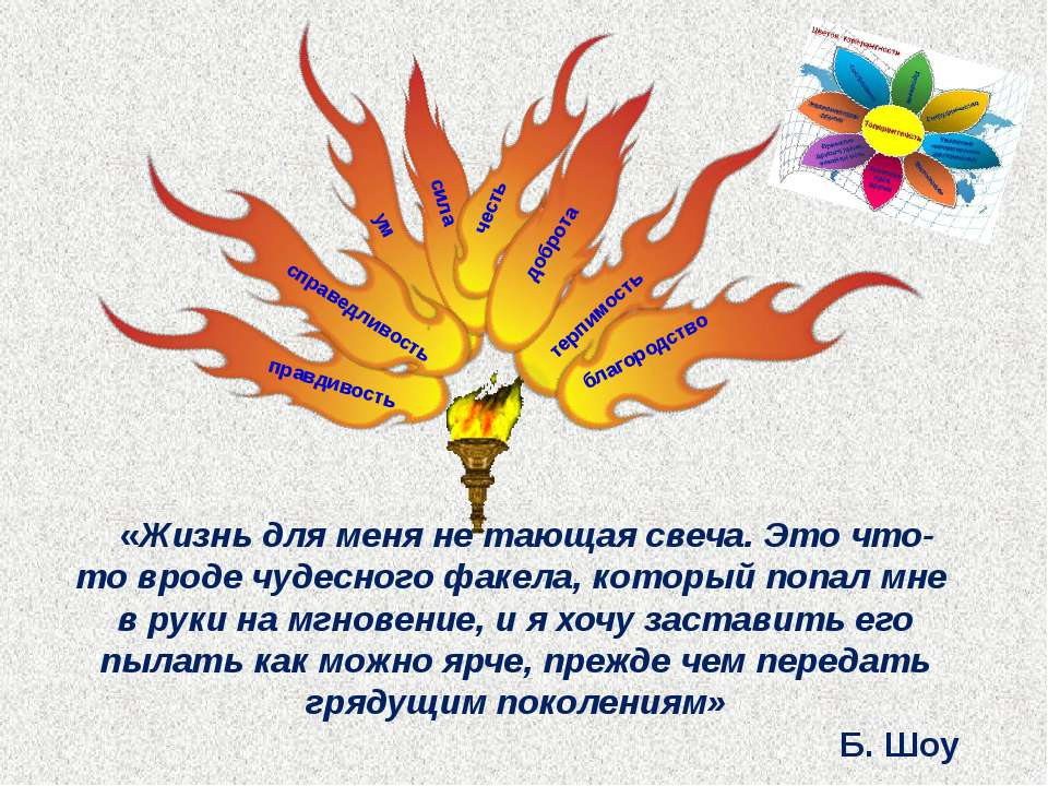 справедливость благородство правдивость ум сила терпимость честь доброта «Жиз...