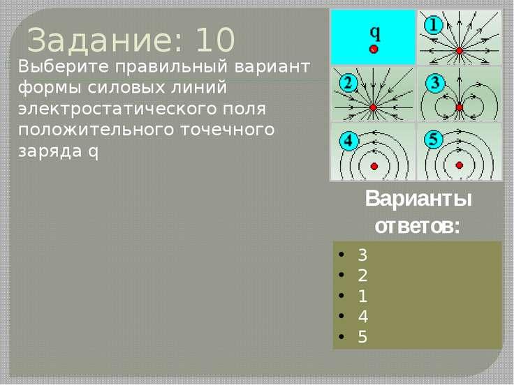 Задание: 10 Выберите правильный вариант формы силовых линий электростатическо...