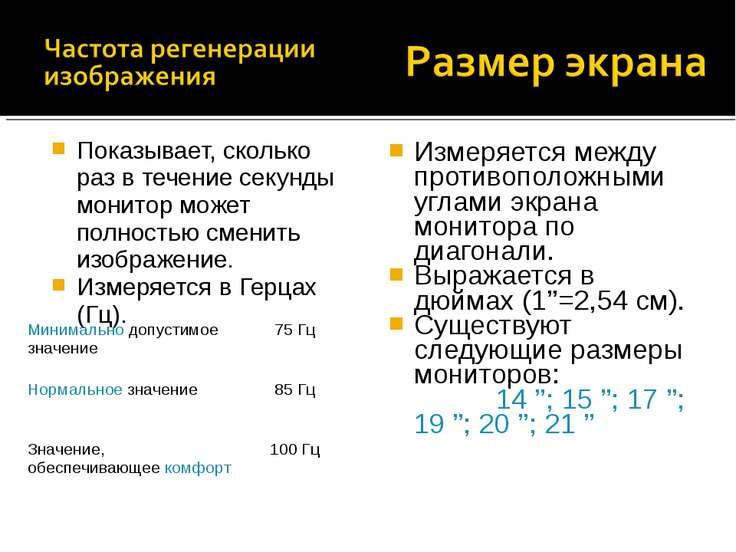 Измеряется между противоположными углами экрана монитора по диагонали. Выража...