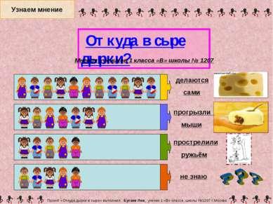 Узнаем мнение Проект «Откуда дырки в сыре» выполнил Бугаев Лев, ученик 1 «В» ...