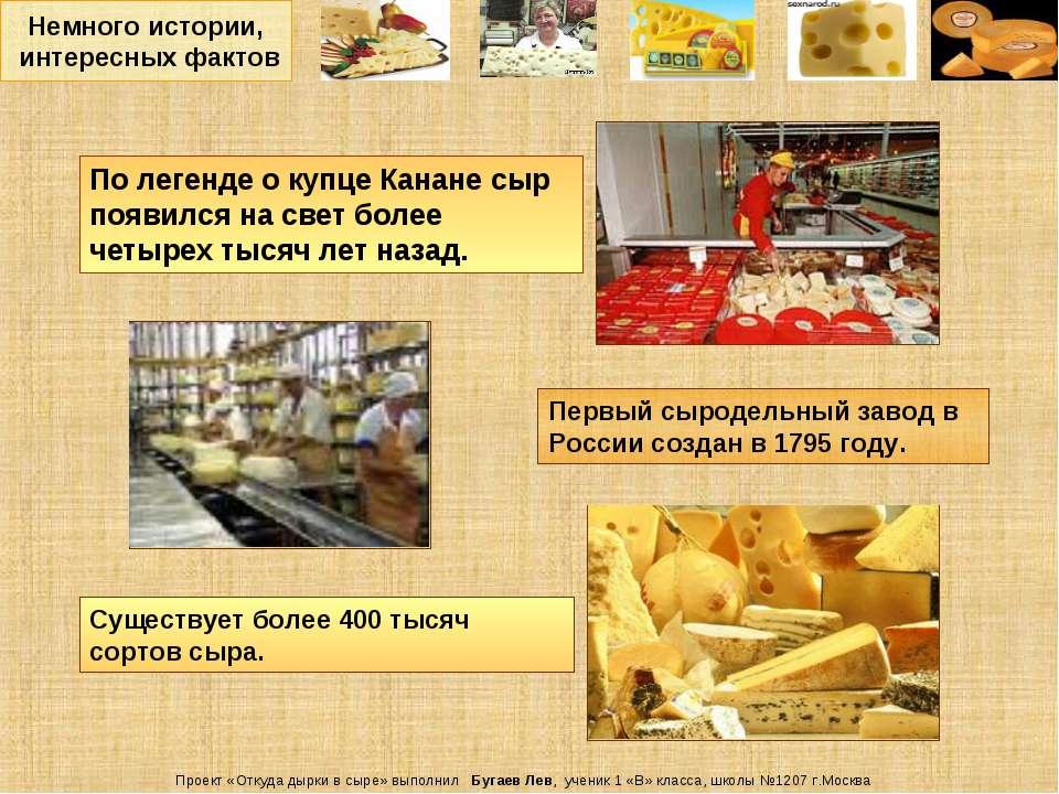 Немного истории, интересных фактов Проект «Откуда дырки в сыре» выполнил Буга...