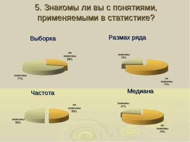 5. Знакомы ли вы с понятиями, применяемыми в статистике? Выборка Частота Разм...