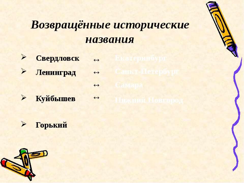 Возвращённые исторические названия Свердловск Ленинград Куйбышев Горький ↔ ↔ ...