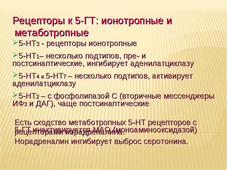 Дневное отделение фармацевтического факультета Рецепторы к 5-ГТ: ионотропные ...