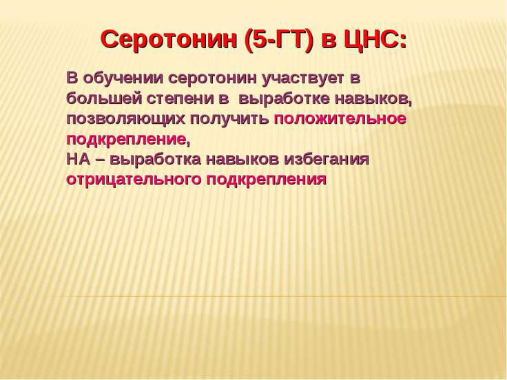 Дневное отделение фармацевтического факультета Серотонин (5-ГТ) в ЦНС: В обуч...