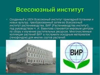 Всесоюзный институт Созданный в 1924 Всесоюзный институт прикладной ботаники ...