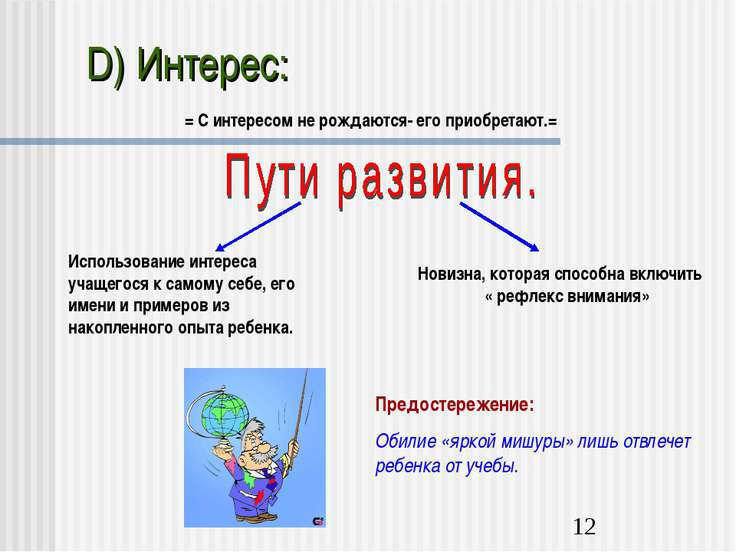 D) Интерес: = С интересом не рождаются- его приобретают.= Использование интер...