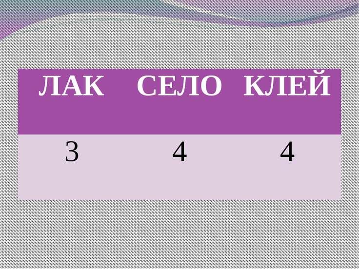 ЛАК СЕЛО КЛЕЙ 3 4 4