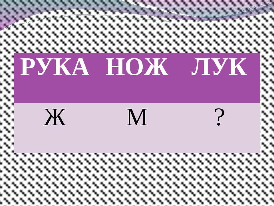 РУКА НОЖ ЛУК Ж М ?