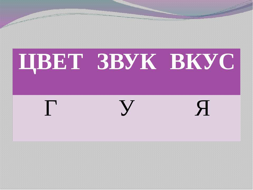 ЦВЕТ ЗВУК ВКУС Г У Я