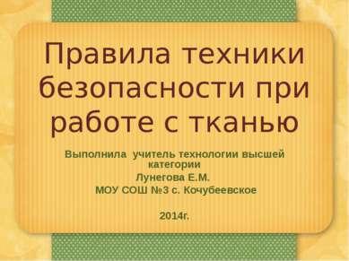 Выполнила учитель технологии высшей категории Лунегова Е.М. МОУ СОШ №3 с. Коч...