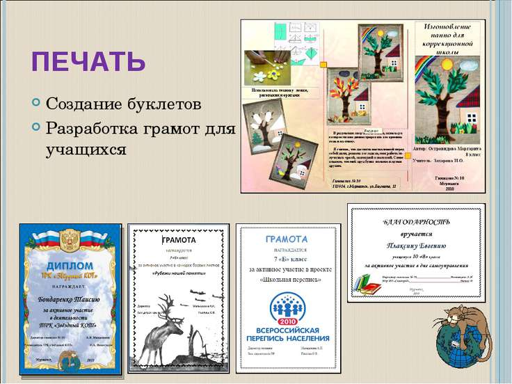 ПЕЧАТЬ Создание буклетов Разработка грамот для учащихся