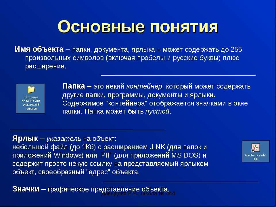 Давыдова Е.В., школа № 444 Основные понятия Имя объекта – папки, документа, я...