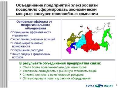 * Основные эффекты от межрегионального объединения Повышение эффективности уп...