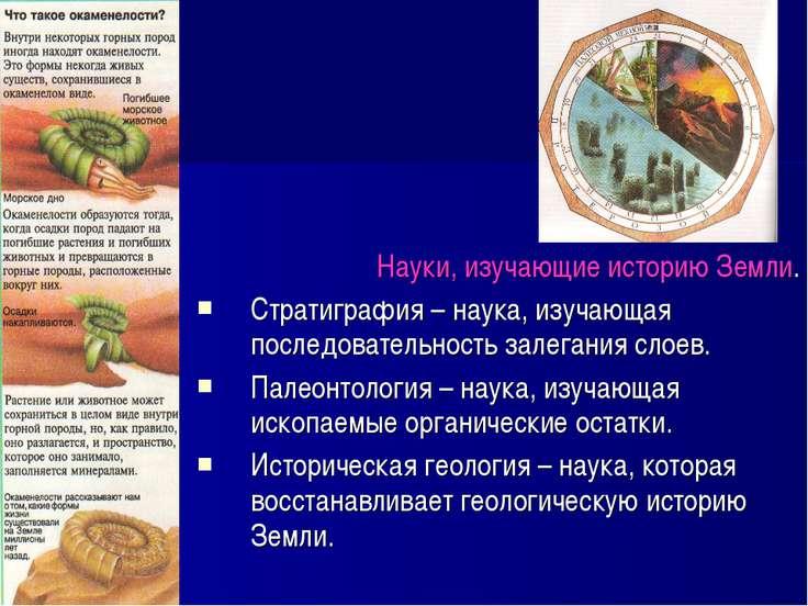 Науки, изучающие историю Земли. Стратиграфия – наука, изучающая последователь...