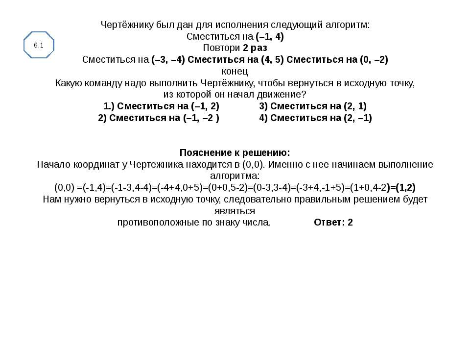 Чертёжнику был дан для исполнения следующий алгоритм: Сместиться на (–1, 4) П...