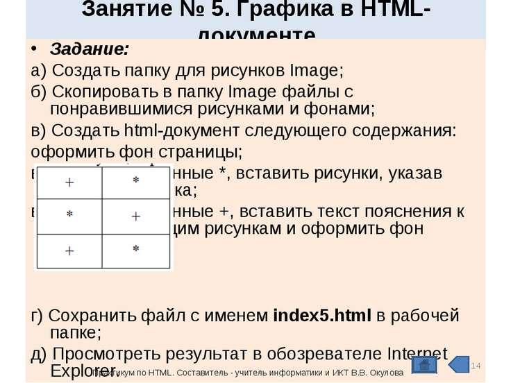 Занятие № 5. Графика в HTML- документе Задание: а) Создать папку для рисунков...