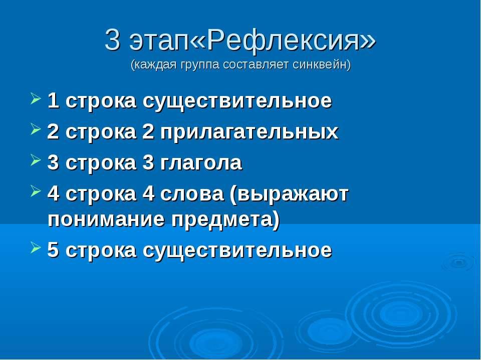 3 этап«Рефлексия» (каждая группа составляет синквейн) 1 строка существительно...