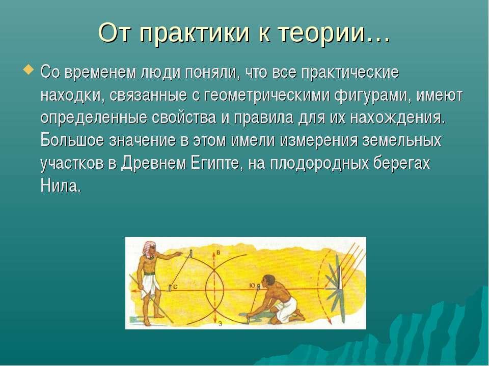 От практики к теории… Со временем люди поняли, что все практические находки, ...