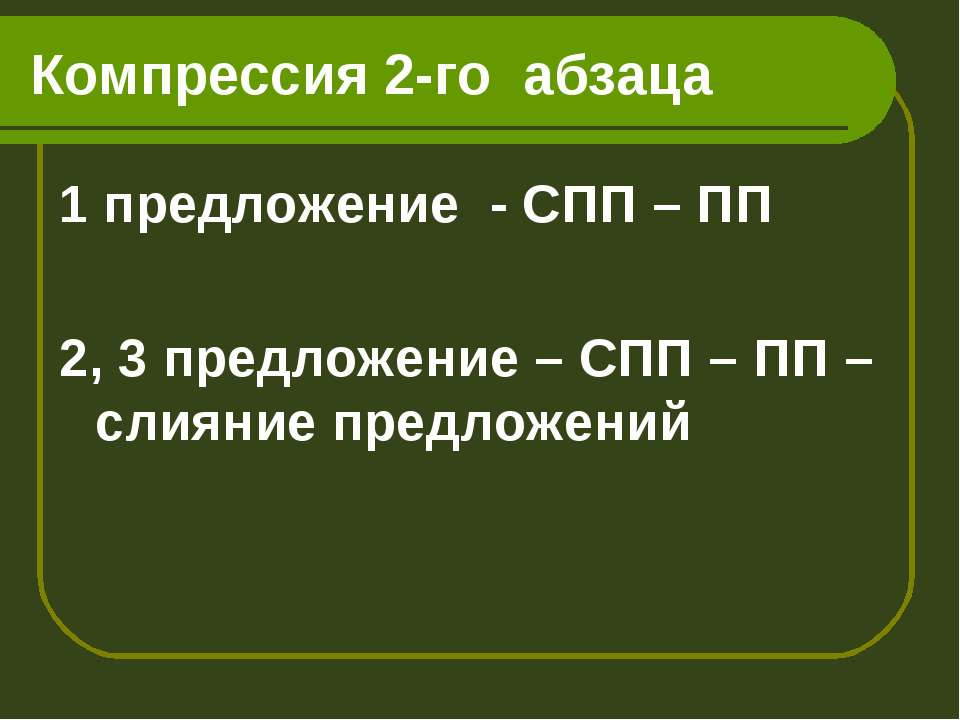 Компрессия 2-го абзаца 1 предложение - СПП – ПП 2, 3 предложение – СПП – ПП –...