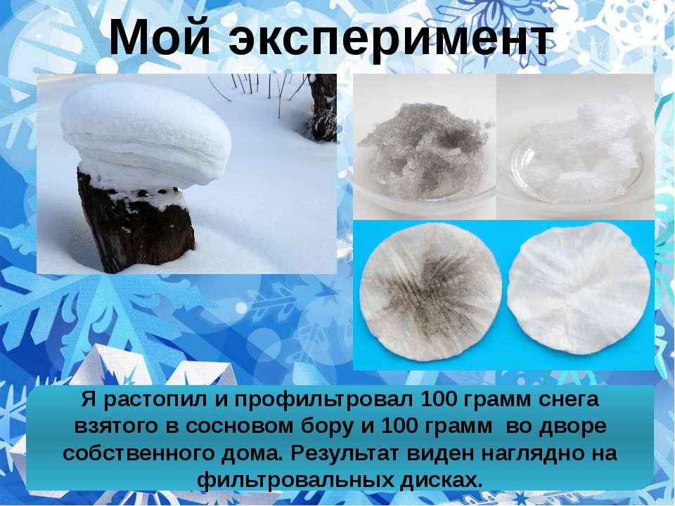 Я растопил и профильтровал 100 грамм снега взятого в сосновом бору и 100 грам...