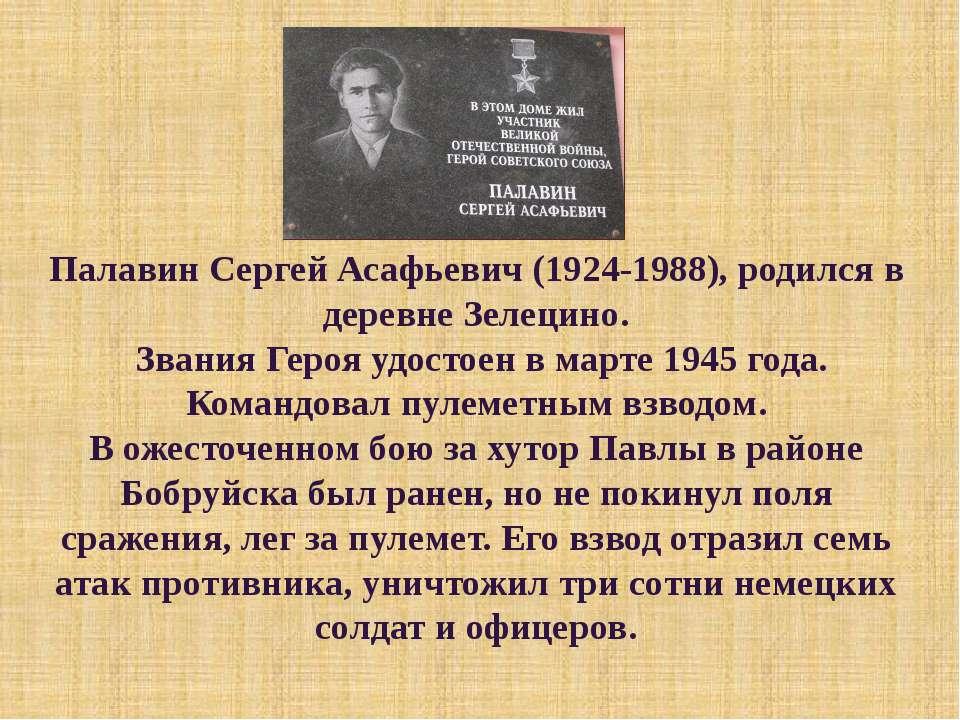 Палавин Сергей Асафьевич (1924-1988), родился в деревне Зелецино. Звания Геро...