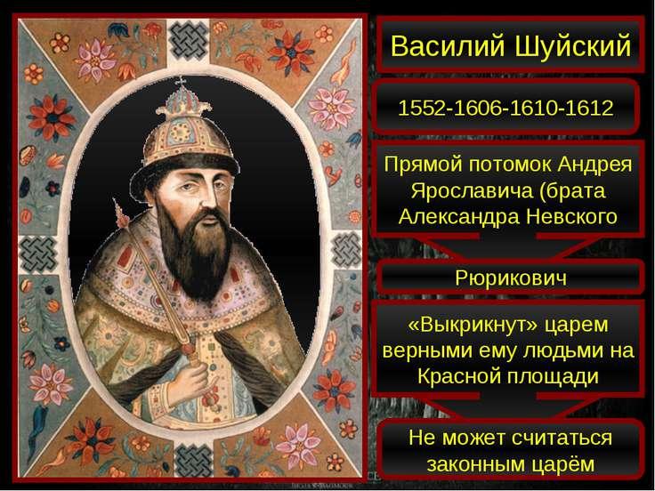 Василий Шуйский 1552-1606-1610-1612 Прямой потомок Андрея Ярославича (брата А...