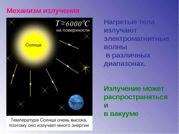 Механизм излучения Нагретые тела излучают электромагнитные волны в различных ...