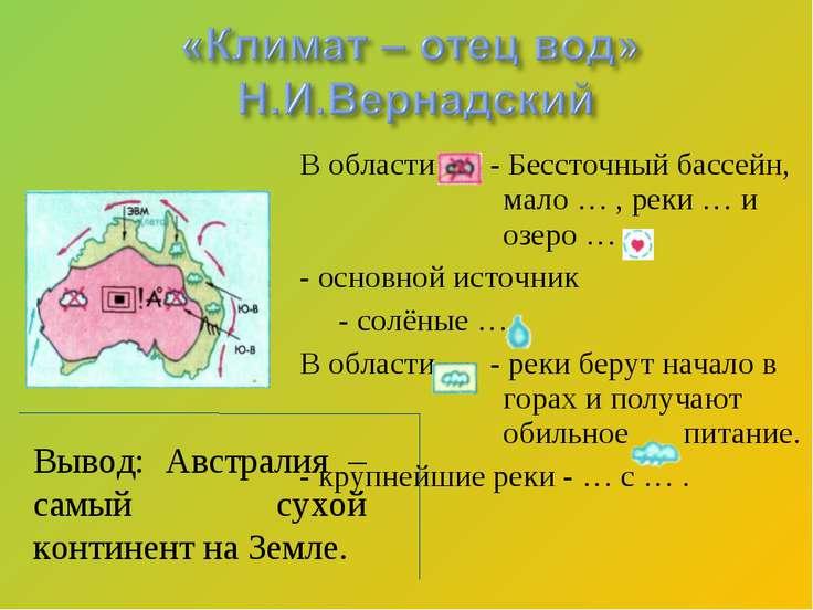 В области - Бессточный бассейн, мало … , реки … и озеро … . - основной источн...