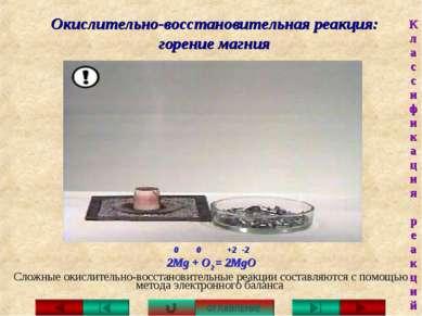 Окислительно-восстановительная реакция: горение магния Сложные окислительно-в...